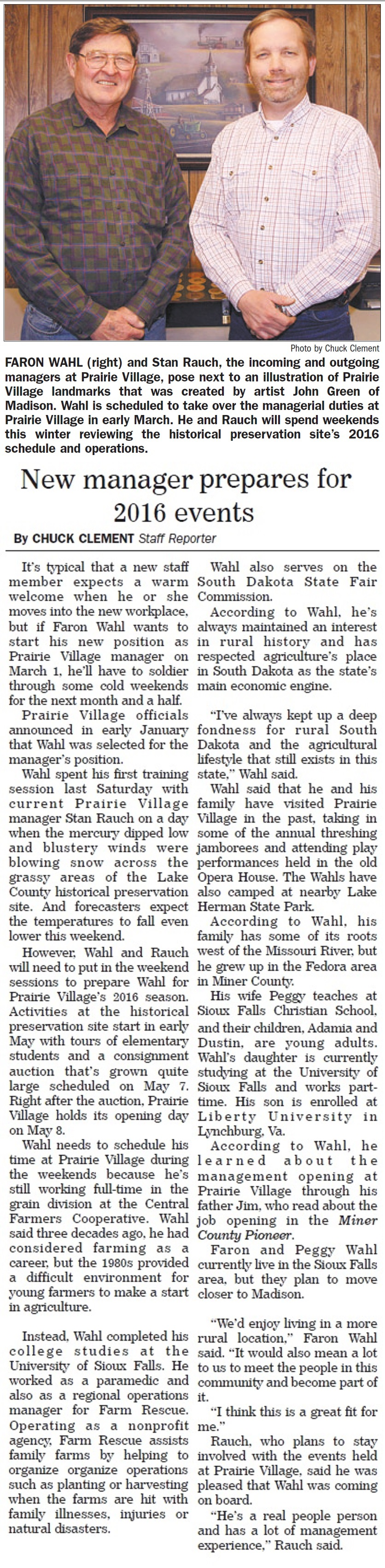 Wahl learns Prairie Village operations